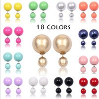 Alta qualidade Frete Grátis Double Sided Faux Pearl Brincos Candy Colorido Duplo Stud Earrings Duplo Pearl Stud Brincos para as Mulheres