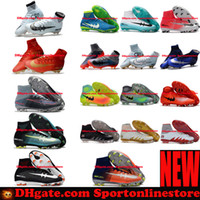Wholesale Cream Ankle Boots - 2017 Mens Football Boots Neymar JR Magista Obra 2 Mercurial Superfly CR7 FG Soccer Cleats High Ankle Top Soccer Shoes New Cristiano Ronaldo