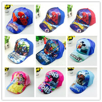 Wholesale Baseball Caps Kids Boys - Kids Spiderman Trolls Moana Avengers Elsa Anna Hats Caps NEW children Ball cap Boys girls Mickey Minne Cartoon Princess baseball Hat A08