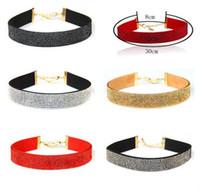 Wholesale European Statement - Choker Statement Necklaces Jewelry European Flannelette Collar Neck Short Chain Clavicle Necklace Women Vintage Jewelry Choker Necklaces