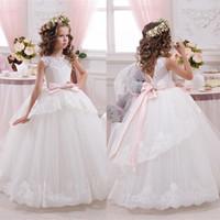 Wholesale yellow flower belt - White ivory bloemenmeisjes jurk Children First Communion Dresses for Girls 2018 Ball Gown Belt Pink Elegant Flower Girl Dress