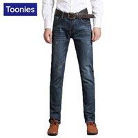 Wholesale Mens Casual Business Jeans - Wholesale- Denim Jeans Men Men's Business Biker Jeans 2017 New Fashion Casual Straight Plus Size Slim Pants High Quality Male Mens Trouser