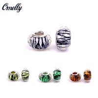 Vintage European Beads Silver Filled Glass Pandora Jewelry Making Handmade Lampwork Pandora Beads Charms Bricolage Bracelet Vente en gros pas cher