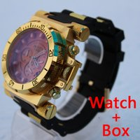 Wholesale Quartz Clock Plastic - INVICTA New Chronograph Man Sports Wristwatches 3 Dial Works Gold Watches Clock Timing Waterproof Fashion Multifunction with Box Wristwatche