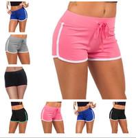 женские досуг шорты оптовых-Лето женщины случайные шорты Женские спортивные йога хлопок шорты 7 цветов досуг бег трусцой шнурок шорты LC462