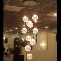 Wholesale Spiral Glass Pendants Lights - Pendant Lamps LED Aluminium Glass Ball Pendant Lamp Stair Bar Droplight Aluminium Pendant Lighting Long Spiral Staircase Lamp Droplight