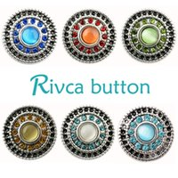 Wholesale White China Buttons - D00113 newest design black and sky blue 18mm noosa chunks jewelry button snaps with rhinestone and enamel for bracelet fashion jewelry