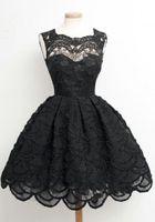 ingrosso abiti neri per la laurea-Hot Black Lace Homecoming Party Dresses Zipper Back Mini Short 8th Graduation Dresses Sweet 16 Abiti Vestido De Fiesta