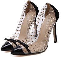 Wholesale Transparent Rivet High Heels - European and American transparent clear crystal Rivet suede leather bowknot butterfly knot sexy high heels pumps stiletto