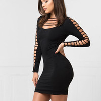 Wholesale Womens Tight Dresses - 2017 Sexy Tight Low Cut Dress Womens Hollow Out Spelling Package Hip Bandag Dresses Night out Club wear Bodycon dresses Mini Pencil Dresses