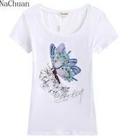 Wholesale Ladies Tops Butterfly Sleeve - Wholesale-NA CHUAN Fashion Women Girls Lady Casual Butterfly Print Short Sleeve Cotton Slim Top Shirts Plus size Rhinestone Price Lucky