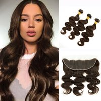 3 paquets avec dentelle frontale Body Wave brun foncé Brazilian Virgin Hair Weave Bundles avec 13x4 Ear to Ear Frontal Middle Three Part