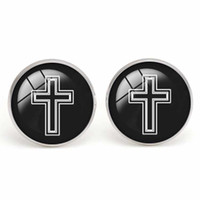 Wholesale Musical Note Wholesale Jewelry Charms - Cross Men's Shirt Cuff Link Glass Cabochon Christian Cufflinks Musical Note Party Accessories Copper Fashion Men Charm Jewelry Wholesale