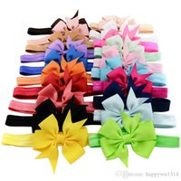 Wholesale Accessories For Hair Childrens - Baby Girls Hair Accessories Ribbon Bows Flower for Headbands Infant Boutique Bow Elastic Hairbands Hair Things Childrens Accessories
