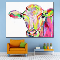 Wholesale Colorful Abstract Art Oil Paintings - Framed Pure Handpainted Modern Abctract Animal Art Oil Painting Colorful Cow,on High Quality Canvas For Home Decor Multi sizes