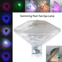 Vente en gros - AAA LED Light Flottant Sous-marin RGB LED Disco Light Piscine Baignoire Party Spa Lampe DJ lampe Étang Aquarium Diamant Forme