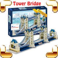 Wholesale Tower London 3d Puzzle - New Year Gift London Tower Bridge 3D Puzzle British Building Model Adult Puzzle Toy PUZ Brain Game Paper DIY Decoration Toys