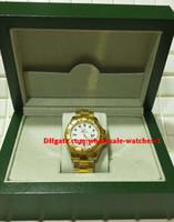 sarı beyaz hediye kutuları toptan satış-Noel hediyesi İsviçre Lüks saatler Orijinal kutu sertifika Otomatik mens watch 40mm 18 k Sarı Altın Beyaz Dial 16628 Çerçeve