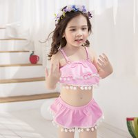Wholesale Hot Pink Two Piece Swimsuit - New 2017 Girls Swimming Suits Children Swim SetsTwo-Pieces Cute Ball bathing Princess Girl Hot Spring Swimsuits Girl's Swimwear Pink A6047