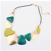 Wholesale elegant chunky necklaces - European Elegant Fashion Irregular Pattern Temperament Colorful Chokers Women Geometric Necklace Chunky Design Bib Statement Necklace