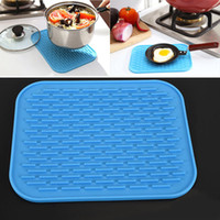 esteras de placas al por mayor-Nuevo Silicone Dish Drying Mat Square Pad antideslizante Kitchen Cup Pot Bowl Plate Table Mats Silicona resistente al calor de alta calidad WX-C59