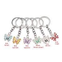 Wholesale butterfly keychains - Fashion Butterfly Keychains Keyrings Rhinestones Diamonds Crystal Alloy Bag Phone Pendant Key rings Accessories Jewelry women Gifts 6 colors