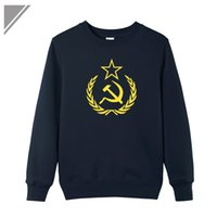 Wholesale Soviet Union - Wholesale- Winter Dress Hoodies Men Hip Hop CCCP Soviet Union Sickle And Hammer Pointed Star Printed Sweatshirt Mens Hip Hop Dresses Pull
