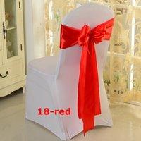 rote satin stuhl abdeckung schärpen großhandel-50pcs rote Farbe Satin Stuhl Bow \ Stuhl Schärpe auf Stuhlabdeckung verwendet Kostenloser Versand