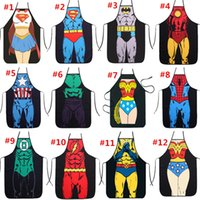 Wholesale Sexy Free Women Men - HOT sale Sexy Men Women Apron superhero Apron spiderman avengers Kitchen Cooking Chef Novelty Funny Naked BBQ Party Free Shipping