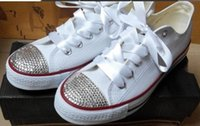 Wholesale Sticky Men - Hot new 2016 men and women star shoes, unisex classic white canvas shoes, fashion brand DIY creative sticky diamond shoes all 35-45