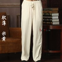 Wholesale men tai chi pants - Wholesale- New Arrival Chinese Men's Kung Fu Trousers Cotton Linen Kung Fu Pant Tai Chi Pants Wu Shu Pants Size M L XL XXL XXXL W39