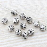 perle de style européen spacer achat en gros de-MIC 100 pcs Antique argent alliage exquis Spacer Perles 7.5x8mm correspond à Style Européen Charm Bracelet Collier D31