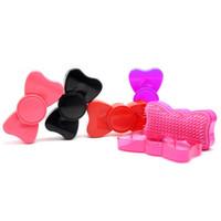 Wholesale Red Hairbrush - Portable Bowknot Hair Brush Comb for Girls Children Plastic Detangling Hair Comb Hairdressing Massage Brush Hairbrush ZA2588