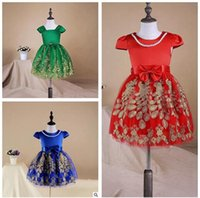 Wholesale Embroidered Dress Pearls - Girls Pageant Dresses 2017 Baby Dress Flower Girls Dress Pearl Stain Gold Lurex Embroidered Dress Tutu Dresses Cotton Lining Toddler Dresses