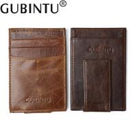 Wholesale Clutch Leather For Men - Genuine Leather Mini Vintage Cluth Wallet Clamp for Money Clip Front Pocket Men's Wallet Card Portfolio Men Vintage Porte Cartes