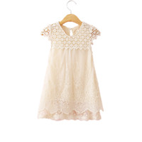 Wholesale Soft Dress Girls Kids - Lace Girls Dresses Sleeveless Hollow Out Baby Girls Clothes Summer Soft Baby Outfit Birthday 7Y Girls Dress Lace Kids Outfit