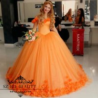 Wholesale Stunning Princess Prom Dresses - 3D Floral Flowers Quinceanera Ball Gowns 2017 Off The Shoulder Sweet 16 Dresses Stunning Orange Corset Puffy Princess Prom Dress