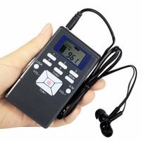 mejor receptor de radio al por mayor-Negro DSP Radio Portátil Receptor de Radio FM Radio de Bolsillo para reunión grande con Auriculares Mejor Y4305
