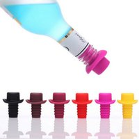 Wholesale Personalized Wine Bottle Stopper Wholesale - Personalized Top Hat Shaped Silicone Wine Stopper Champagne Wine Bottle Stopper Preserver Set for Kitchen Party Tools S201730