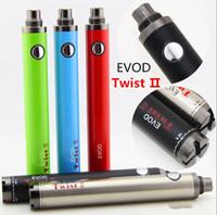 kit variable evod baterias al por mayor-10 piezas EVOD Twist II 2 batería Cigarrillo electrónico 1600mAh Voltaje variable Visión 2 eGo-C eVod VV Batería para atomizadores ego Vape Pen Kit