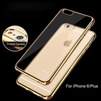 Caso para iPhone 6 6S iPhone6 ​​+ / 6S Plus 7 5 5S chapado en oro Frame Clear Back Cover para Samsung Galaxy S6 Edge Plus S7 Note 7 A5