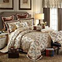 Wholesale King Size Bedding Collections - Wholesale- Collection bedding sets Queen King Size Bed-In-A-Bag Silk Satin Cotton blend Jacquard Pattern Duvet Cover set
