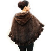Wholesale Real Mink Stole - Fashion Women Fur Shawl Winter Knitted Real Mink Fur Stole With Fur Hood Knitted Mink Poncho Pashmina Free Shipping
