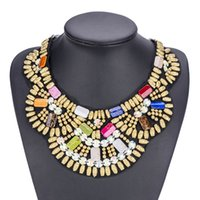 Wholesale Necklace Female Collar - 2017 Europe and the United States Resin Bead Necklace Manually Female Choker National Wind Detachable Collar Necklace