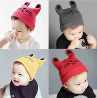 Wholesale Cute Woolen Hats - Baby Hats Kitty Woolen Yarn Autumn Winter Beanies Knitted Girl Gifts Infant Hats Cute Warm Elastic Hat