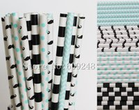 Wholesale Blue Chevron Drinking Straws - Wholesale-100pcs Drinking Paper Straws Mix,Light Blue Chevron and Swiss Dot,Black Mustache and Horizontal Rugby Striped,Fun Birthday Party