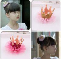Wholesale Little Korean Girls - Kids Girls Lace Pearl Crown Hair Clip Fashion Kids Barrettes Korean Children Hair Accessories Little Girls Birthday Party Wear Hair Clips