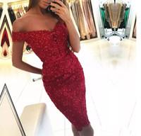 vestido de cóctel ajustado rojo al por mayor-Nuevo 2017 Wine Red Applique de encaje vestidos de cóctel longitud de la rodilla de lujo con lentejuelas vaina vestidos de mujer ajustados para Speacail desgaste de la ocasión