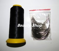 Wholesale Thread For Hair - Wholesale-BIG C weaving needles 90mm long Curved shape needles 50pcs and 1 Black Spool high strength Polyester thread for hair weft