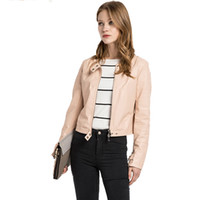 Wholesale Womens Leather Bomber Jackets - Vogue Women Jacket Spring Short Stand Womens Faux Leather Slim Fitness Casual Coats Girls Bomber Solid Color Jacket